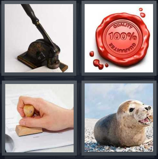 4 Pics 1 Word Answer 4 letters for machine for notary, wax for envelope, person using stamp, sea lion by ocean