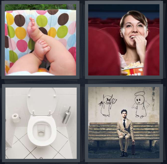 4 Pics 1 Word Answer 4 letters for baby laying down on polka dots, woman in movie theater, toilet in white bathroom, man on bench with angel and devil