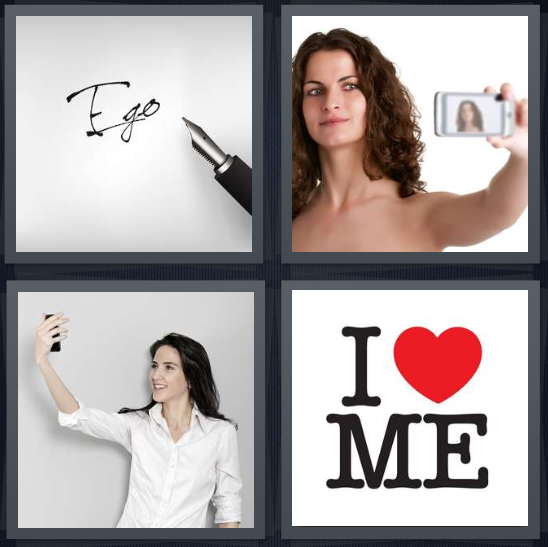 4 Pics 1 Word Answer 4 letters for ego written on white background, woman taking photo of herself, woman taking selfie, me t shirt