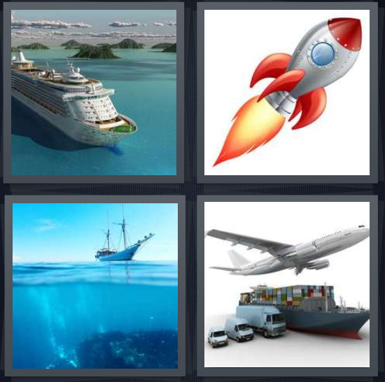 4 Pics 1 Word Answer 4 letters for cruise in ocean, cartoon of rocket, boat in sea, transport goods