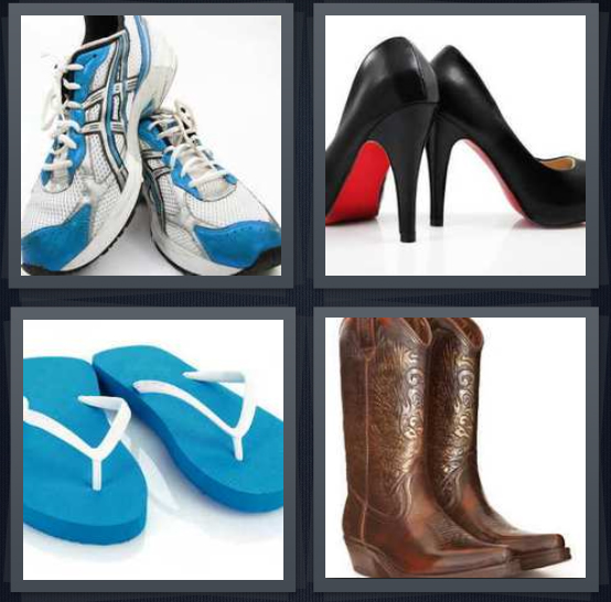 4 Pics 1 Word Answer 4 letters for pair of sneakers, pair of heels, pair of blue sandals, boots