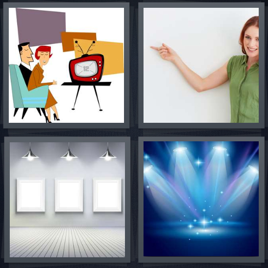 4 Pics 1 Word Answer 4 letters for drawing of people watching television, woman pointing on white background, art gallery with blank canvases, concert with blue lights on stage