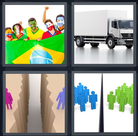 4 Pics 1 Word Answer 4 letters for Brazil soccer team fans, white truck on white background, divide between two people, two groups of people split