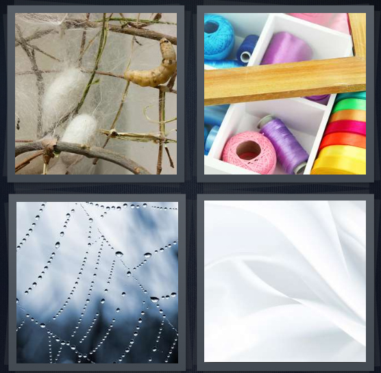 4 Pics 1 Word Answer 4 letters for worm cocoon in nature, thread in drawer, spider web with dew, white material