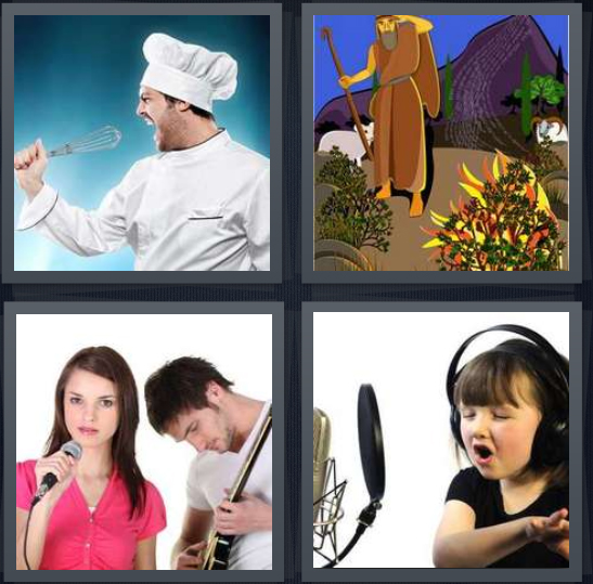 4 Pics 1 Word Answer 4 letters for chef yelling into whisk, cartoon of Moses and burning bush, band performing, little girl recording song