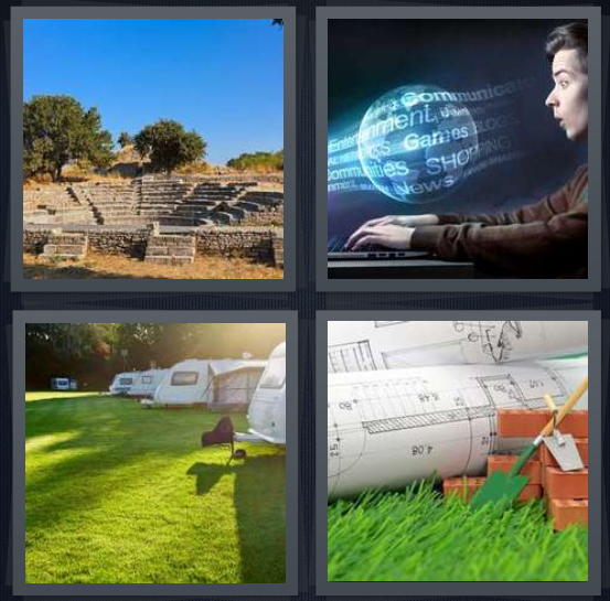 4 Pics 1 Word Answer 4 letters for ancient ruins of stone, person surfing Internet, RV camp with grass, blueprint with bricks