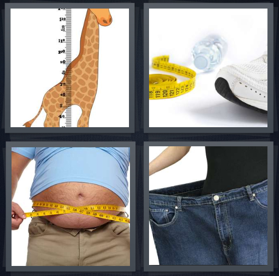 4 Pics 1 Word Answer 4 letters for giraffe with measurement, ruler with water and person exercising, man with measurement around belly needs diet, woman with weight loss
