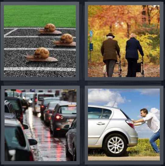 4 Pics 1 Word Answer 4 letters for snails racing on track, elderly couple walking through woods, standstill traffic, man pushing broken down car