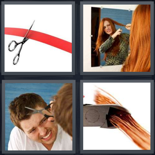 4 Pics 1 Word Answer 4 letters for scissors cutting red ribbon, woman cutting hair, giving haircut, cut