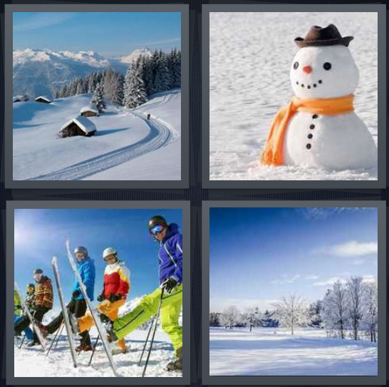 4 Pics 1 Word Answer 4 letters for mountain in white with small town, snowman on hill, group of skiers, winter in woods