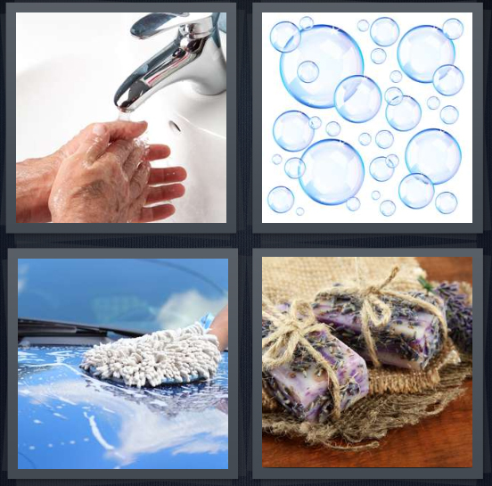 4 Pics 1 Word Answer 4 letters for person washing hands at sink, bubbles, person scrubbing car, lavender for washing