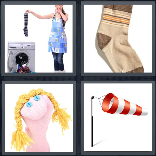 4 Pics 1 Word Answer 4 letters for woman doing smelly laundry, brown stocking, puppet with blond braids, red and white striped flag
