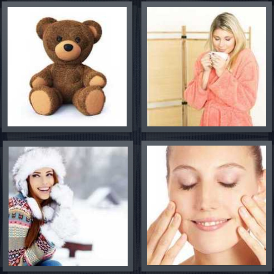 4 Pics 1 Word Answer 4 letters for brown teddy bear on white background, woman in fuzzy robe with mug, woman in snow with fuzzy mittens, woman touching face