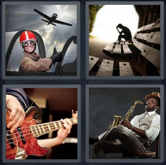 4 Pics 1 Word Answer 4 letters for pilot in cockpit, person sitting alone on bench, guitar player, player with saxophone