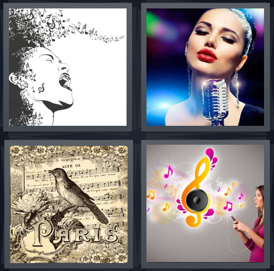4 Pics 1 Word Answer 4 letters for drawing of woman singing, jazz crooner at microphone, sheet music with Paris and bird, woman listening to iPod or mp3