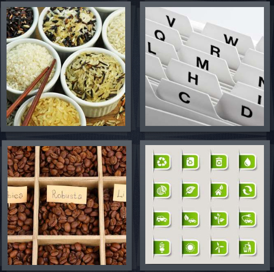 4 Pics 1 Word Answer 4 letters for types of rice and grains in bowls, files with alphabetical folders, coffee beans in order, green tabs for files