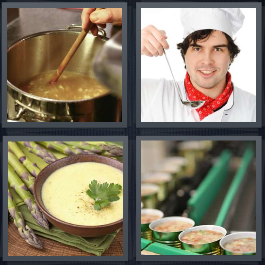4 Pics 1 Word Answer 4 letters for pot of liquid on stove, chef with tasting spoon, asparagus and liquid in bowl on table, food in factory