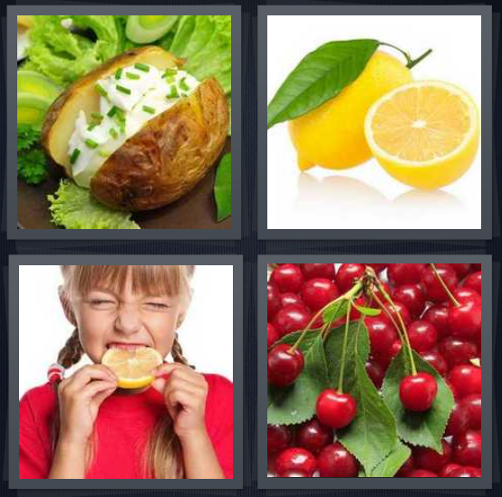4 Pics 1 Word Answer 4 letters for cream on potato with chives, lemon with leaf, girl eating bitter lemon, cherries