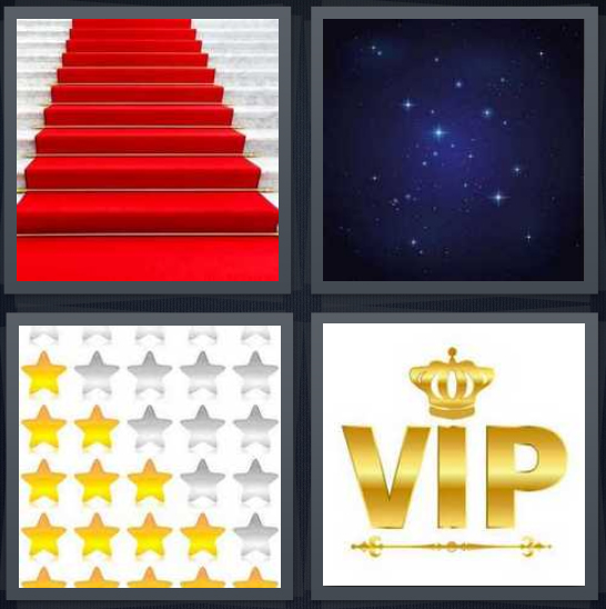 4 Pics 1 Word Answer 4 letters for red carpet on stairs, space with fire balls, gold stickers, VIP with crown