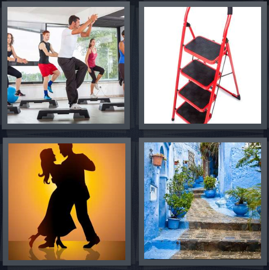 4 Pics 1 Word Answer 4 letters for men doing exercise, short red ladder, silhouette of people dancing, alleyway with stairs and blue walls