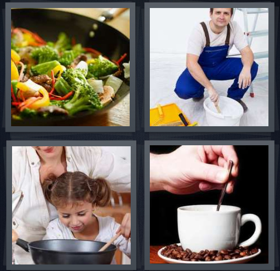 4 Pics 1 Word Answer 4 letters for cooking in frying pan, painter in blue overalls, child smelling food being cooked, coffee with spoon