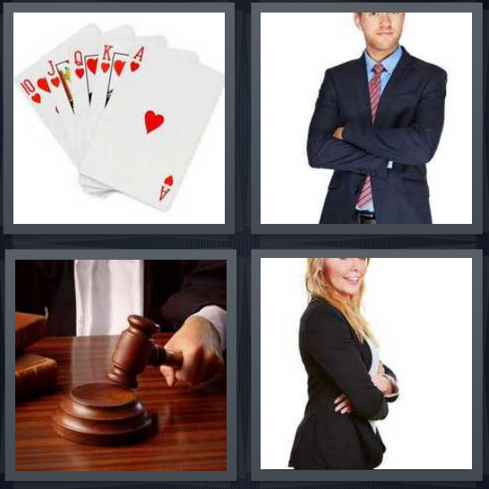 4 Pics 1 Word Answer 4 letters for cards with run in hearts, businessman with arms crossed, judge with gavel, businesswoman with arms crossed