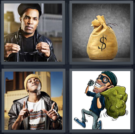 4 Pics 1 Word Answer 4 letters for rapper with chain, bag of money with dollar sign, bling around neck, robber bandit with bag