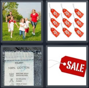 4 Pics 1 Word Answer 3 letters for family running in field, percentages off, tab in back of jeans, sale on red background