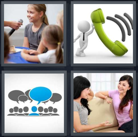4 Pics 1 Word Answer 4 letters for girl speaking into microphone, drawing of green phone, conversation bubbles, two women on couch chatting