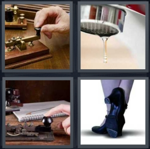 4 Pics 1 Word Answer 3 letters for person using Morse code, faucet with water dripping, machine for Morse code, heels for dancing