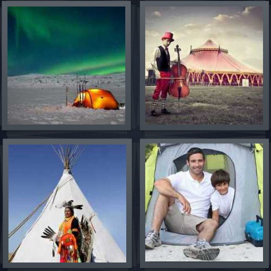 4 Pics 1 Word Answer 4 letters for people sleeping by Northern Lights on snow, man with cello outside circus, Native American with teepee, father and son camping