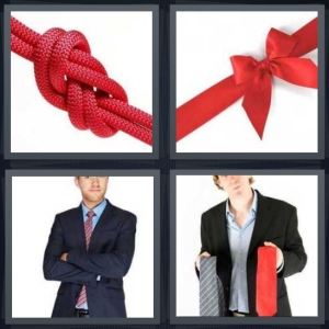 4 Pics 1 Word Answer 3 letters for red rope knots, red ribbon on white background, man wearing suit with arms crossed, man choosing accessory for suit