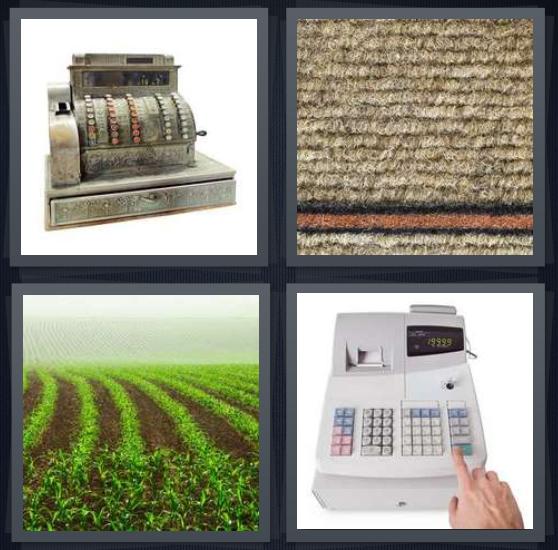 4 Pics 1 Word Answer 4 letters for antique cash register, brown rough carpet, field in farm, cash register