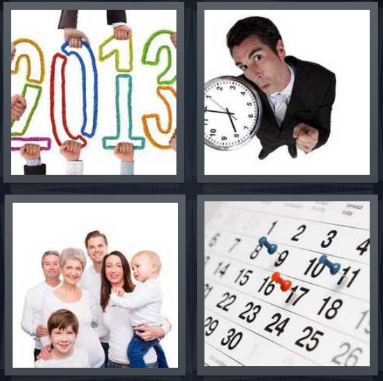 4 Pics 1 Word Answer 4 letters for 2013 numbers, man holding analog clock, family in white shirts, calendar with push pins