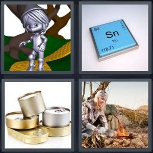 4 Pics 1 Word Answer 3 letters for silver man on yellow brick road, element from Periodic Table, aluminum cans for food, woman cooking over campfire