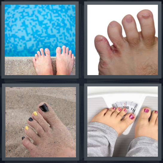 4 Pics 1 Word Answer 4 letters for feet on edge of pool, fungus on foot, painted nails on sand, feet on scale