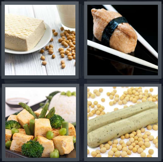 4 Pics 1 Word Answer 4 letters for vegetarian meat, chopsticks holding roll, vegan food, soy plant