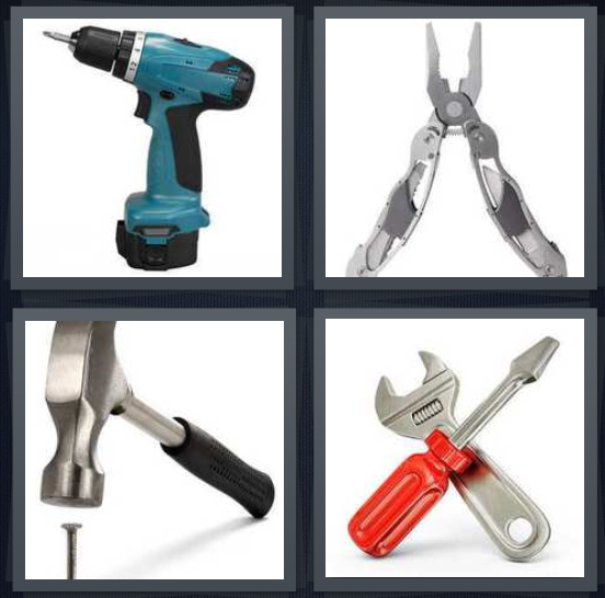 4 Pics 1 Word Answer 4 letters for blue drill, open pliers, hammer hitting nail, wrench and screwdriver
