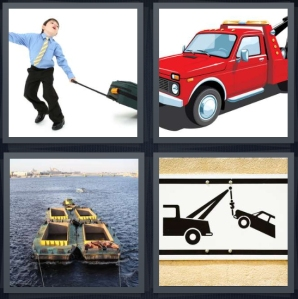 4 Pics 1 Word Answer 3 letters for man pulling suitcase, red truck, tug boat on river, sign for car lift