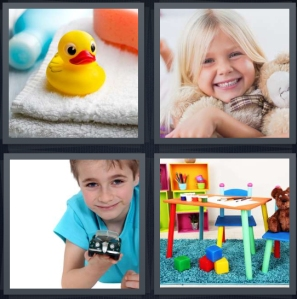 4 Pics 1 Word Answer 3 letters for rubber duck near bathtub, girl hugging teddy bear, boy holding pretend car, play room