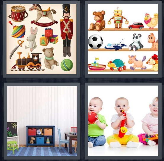 4 Pics 1 Word Answer 4 letters for wooden play things, cartoon shelves of play things, play room for child, babies chewing on plastic