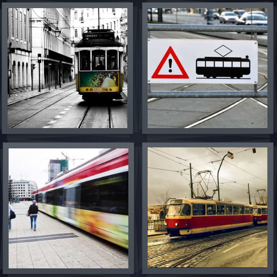 4 Pics 1 Word Answer 4 letters for green street trolley in city, caution sign near train tracks, metro platform, train cable car