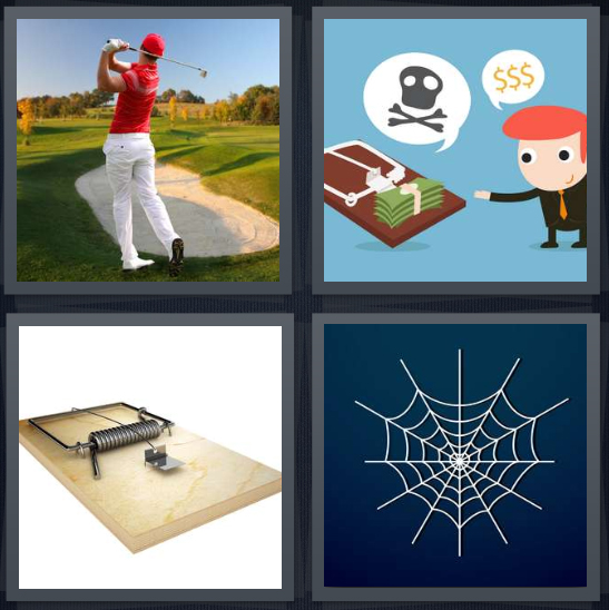 4 Pics 1 Word Answer 4 letters for man playing golf near sand, cartoon of bad money, mouse, spider web