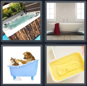 4 Pics 1 Word Answer 3 letters for jacuzzi outside with wood, bath in bathroom, dog washing cat, butter container
