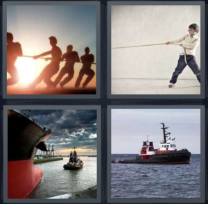 4 Pics 1 Word Answer 3 letters for people pulling on rope playing game, boy pulling on rope, large ship in port, boat on ocean