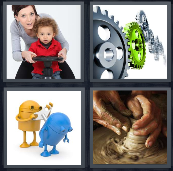 4 Pics 1 Word Answer 4 letters for mother with toy wheel and son, gears on white background, wind up toys, person making pottery with clay