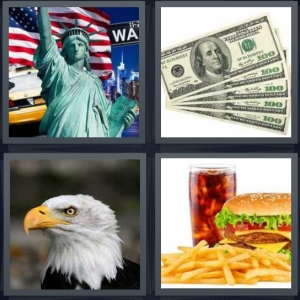 4 Pics 1 Word Answer 3 letters for Statue of Liberty and New York icons, stack of hundred dollar bills, bald eagle, burger and fries with cola