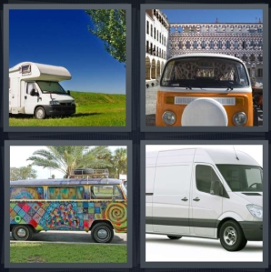 4 Pics 1 Word Answer 3 letters for camper vehicle in field, orange Volkswagon bus, painted hippie bus, passenger vehicle