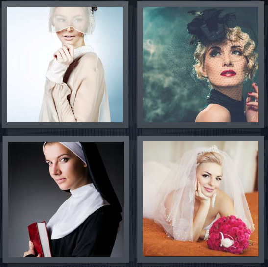 4 Pics 1 Word Answer 4 letters for woman with white silk over face, woman in mourning going to funeral, nun with habit, bride laying on bed with flowers