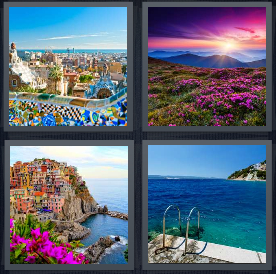 4 Pics 1 Word Answer 4 letters for vista of Barcelona from park, sunrise over mountain and field of flowers, city scape with flowers, looking at blue sea with mountain